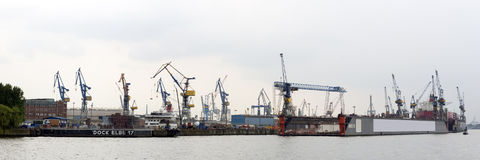 Hamburg harbor panorama Royalty Free Stock Photos