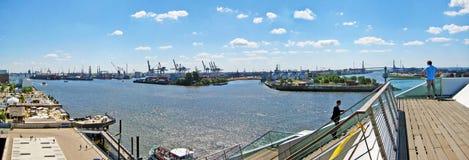 Hamburg harbor / port panorama, Germany. Hamburg, Germany - May 24, 2008: Hamburg harbor - panorama, container terminals and Norderelbe - view from Dockland Stock Images
