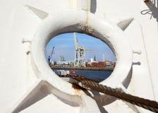 Hamburg, harbor seen through a fairlead Royalty Free Stock Photo