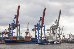 Hamburg harbor. With ships and containers Stock Image