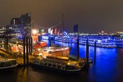 Hamburg harbor ships germany at night. Some hamburg harbor ships germany at night stock photos