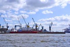 Hamburg harbor, shipyard Royalty Free Stock Photo