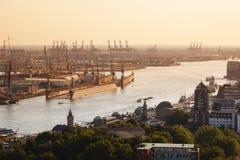 Hamburg Harbor Sunset. View over Hamburg Harbor, Germany at sunset Royalty Free Stock Images