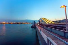 The Hamburg harbor after sunset Royalty Free Stock Image