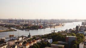 Hamburg Harbor Sunset Royalty Free Stock Images