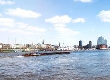Hamburg harbor waterfront on sunny day Royalty Free Stock Images