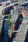 Hamburg harbour. Aerial view of historic warehouses in Hamburg harbour royalty free stock photo