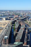 Hamburg harbour. Aerial view of historic warehouses in Hamburg harbour stock photography