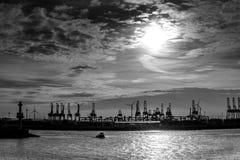 Hamburg harbour black and white Stock Images