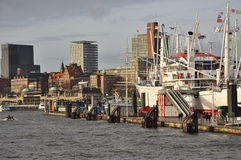 Hamburg harbour and city waterfront, Germany Royalty Free Stock Photos