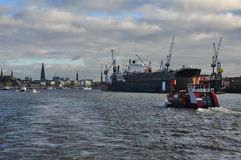 Hamburg harbour and city waterfront, Germany Royalty Free Stock Photography