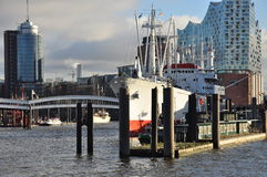 Hamburg harbour and city waterfront, Germany Stock Images