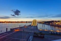 Hamburg harbour after sunset Stock Photo