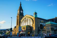 Hamburg Hauptbahnhof railway station. Hamburg Hauptbahnhof wide interior with elevate view of trains, people traveling and huge Philips advertisement. It is one royalty free stock photos