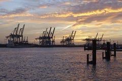 Hamburg - Haven bij zonsondergang met de kranen van de containerbrug Royalty-vrije Stock Fotografie
