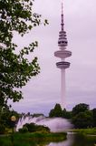 Hamburg, Heinrich-Hertz-Turm, Park near by the Center. The radio telecommunication tower at Hamburg, seen from the old botanic garden. 279 meters tall, it is Royalty Free Stock Images