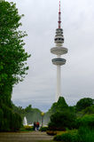 Hamburg, Heinrich-Hertz-Turm, Park near by the Center. The radio telecommunication tower at Hamburg, seen from the old botanic garden. 279 meters tall, it is Royalty Free Stock Photo