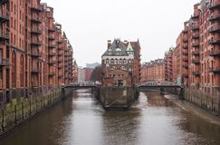 Hamburg historic warehouse district in Germany called `Speicherstadt`, Germany royalty free stock image