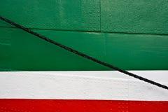 Hamburg, Jetties. Board wall with fastening ropes Royalty Free Stock Photo