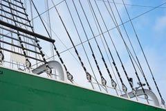Hamburg, Jetties. Masts of old sailing ship in Hamburg Royalty Free Stock Image