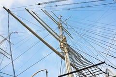 Hamburg, Jetties. Masts of old sailing ship in Hamburg Stock Image