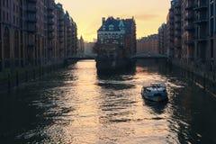 Hamburg lagerområde Arkivfoto