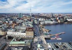 Hamburg, lake Binnenalster and TV Tower Stock Photos