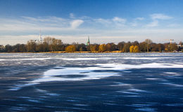 Hamburg lake is covered with ice. Germany Royalty Free Stock Photo