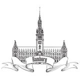 Hamburg landmark, Germany. Germany sketch symbol Royalty Free Stock Images