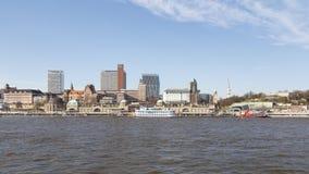 Hamburg Landungsbrucken. HAMBURG, GERMANY - MARCH 20, 2014: View of the historic harbor at the Landungsbrucken in Hamburg, Germany on March 20, 2014 royalty free stock photography