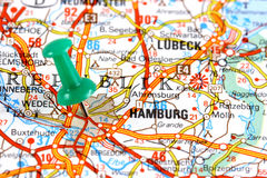 Hamburg on map. Hamburg, Germany, Europe. Push pin on an old map showing travel destination. Selective focus stock photo