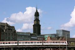 Hamburg Michel. The church of St. Michaelis, called Michel, in Hamburg with u-train in front Stock Photos