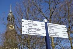 Hamburg - Michel and road sign Stock Image