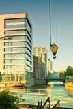 Hamburg, moderne architectuur en oude pakhuizen in Binn Royalty-vrije Stock Foto's