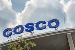 HAMBURG NIEMCY, LIPIEC, - 20, 2016: Cosco znak na miasta centrum handlowym Zdjęcia Stock