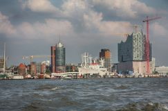 Hamburg Niemcy, Lipiec, - 28, 2014: Widok krajobraz Hamburski ` s fotografia royalty free