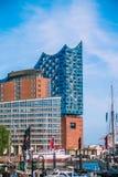 HAMBURG NIEMCY, Maj, - 28, 2017: Elbphilharmonie, filharmonia w porcie Hamburg Wysoki zamieszkany Obrazy Stock