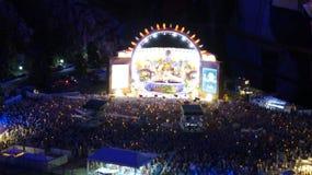 HAMBURG NIEMCY, MARZEC, - 8th, 2014: Koncert przy Miniatura Wunderland jest wzorcowym kolejowym przyciąganiem i wielki swój Zdjęcia Royalty Free