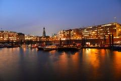 Hamburg by night Stock Images