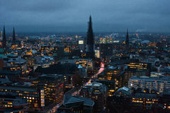 Hamburg night view. Panorama of the night city. A big city in the evening light. Artificial lighting of the city. The streets are illuminated. Hamburg at night Stock Photo