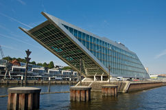 Hamburg Office Building. The Dockland Office Building located in the Elbe River near the Hamburg port is shaped like a ship Royalty Free Stock Photos