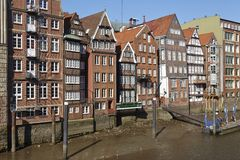 Hamburg - Old houses at the Nicolai Fleet Stock Images