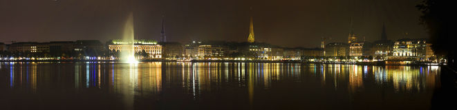 Hamburg. Panorama of hamburg by night Stock Photography