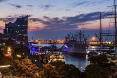 Hamburg - panorama of the port at sunrise Stock Photo