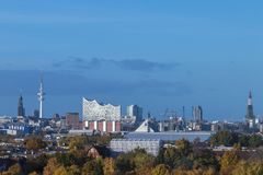 Hamburg panoramic view of the elbphilharmonie and the city. Hamburg with panoramic view of the elbphilharmonie and the city Stock Photos