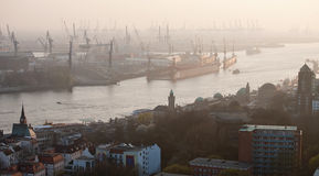 Hamburg port aerial panoramic view Stock Image