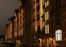 The Hamburg Port Authority. Hamburg, Germany - March 9, 2017: The Head Office of the Port Administration Hamburg Port Authority in the Speicherstadt at night Stock Photography