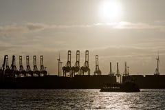 Hamburg port cranes Stock Image