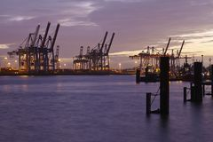 Hamburg - Port in the evening Royalty Free Stock Photos