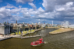 Hamburg port in Germany: Harbor Altona.  Royalty Free Stock Images